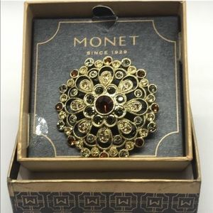 Monet Signed Goldtone Brooch Multi-Colored Stones